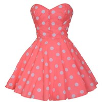 Pin-Up Coral Polka Dot Prom Party Dress   Style Icon`s Closet