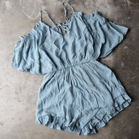 crinkled peek a boo shoulder romper with ruffle hem in misty blue