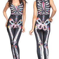 Black Skeleton Print Long Sleeve Jumpsuit Halloween Costume