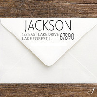 Personalized Address Stamp - Wedding Gifts for Men - Masculine Return Address Stationery Stamp - Self Inking Stamp - Custom Groomsmen Gift