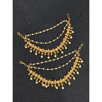 Matte gold plated Sunflower design CZ stone triple layer earrings chain / Maatal