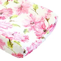 Tallulah Petunia Floral Changing Pad Cover - 100% Cotton - Fits Standard Contoured Changing Pads