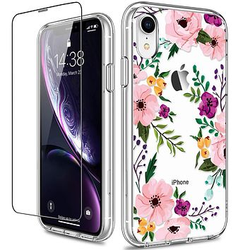 GiiKa iPhone XR Case with Screen Protector, Clear Heavy Duty Protective Case Floral Girls Women Shockproof Hard PC Back Case with Slim TPU Bumper Cover Phone Case for iPhone XR, Small Flowers Small Flower / Clear