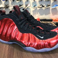 Authentic Unisex Nike Air Foamposite One Pro Metallic Red 314996-610 varsity red white-black Brand sneaker