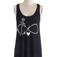 ModCloth Nautical Mid-length Tank top (2 thick straps) Falling Infinite Love Top