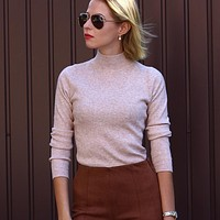 Autumn Winter Solid Cashmere Sweater Women Knitted Long Sleeve Turtleneck Sweaters Women Slim Fit Basic Pullovers