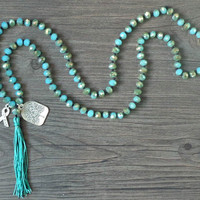 Unique crystal beads / Breast Cancer Tree of Life Tassel necklace bohemian jewelry