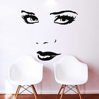 Makeup Wall Decal Vinyl Sticker Decals Home Decor Mural Make Up Girl Woman Eyes Face Lips Fashion Cosmetic Hairdressing Hair Beauty Salon Decor (6043)