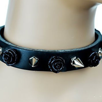 Black Rose and Spike Leather Choker Necklace