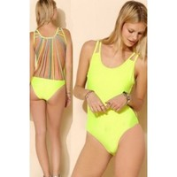 Neon One Piece Caged Back Sexy Swimsuit