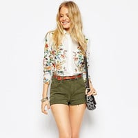 Floral Print Single Breasted Long Sleeve Dovetail Blouse