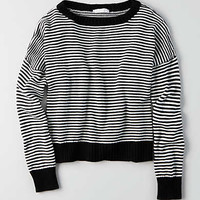 Don't Ask Why Boxy Crewneck Sweater, Black
