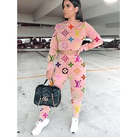 LV letter print hooded two-piece pink
