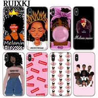 2bunz Melanin Poppin Aba Soft Silicone Phone Case for iPhone X 6 7 8 plus 5 5s se 6s Fashion Black Girl Cover For Coque iPhone 7