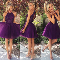 Don's Bridal fashion purple short prom dress 2016 new o neck beaded a line women coctel dresses for formal party robe de soiree