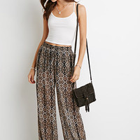 Tribal Print Wide-Leg Pants