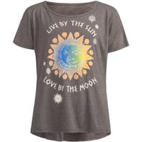 Full Tilt Live By Sun & Moon Girls Cozy Tee Charcoal  In Sizes