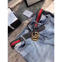 New Men Gucci GG belt Black Leather Gucci Belt With Gold Buckle20