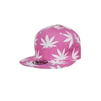 Pink Marijuana All Print Cotton Snap Back