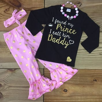 """I Found My Prince I Call Him Daddy"" Gold Dot Outfit"