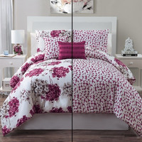 5pc Luxury Carolina Rose/ Ivory Reversible Comforter Set