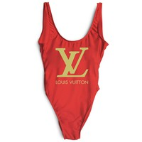 Louis Vuitton LV New Fashion Golden Letter Print Swimsuit One Piece Bikini Suit Red