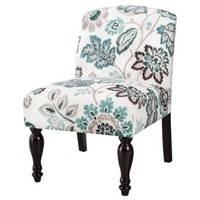 Foster Armless Slipper Chair - Teal/White Floral