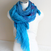 Large Men's scarf, Striped scarf men, Organic linen,Turquoise blue pink lilac male scarf, Striped male scarf, Men scarves, Men striped scarf