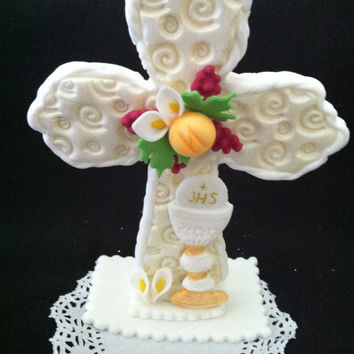 Cross with Chalice Cake Topper, Baptism Cake Toppers, Boys Baptism, First Communion  Favors, First Communion Decorations, Baptism Favor, Baptism Cake Topper, Communion Boy