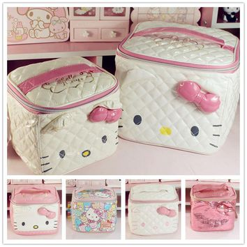 Cute Cartoon Genuine Hello Kitty Cosmetic Bag Pu Makeup Bag Girls Cosmetic Case Women Pouch Travel Toiletry Storage Holder Bag