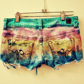 Cecilia. ombre. boho. tie dye. hippy. rocker. short shorts. Now is stock and ready to ship.
