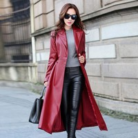 Top Fashion Vogue Womens Overcoat Street Style Long Coats Belted Faux Leather Trench Female Ladies Leather Jackets Red Black