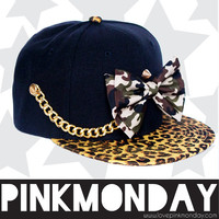 Camo Gold Chain and Studded Black and Cheetah Snapback / Women Girls / Camoflauge / Leather Strap