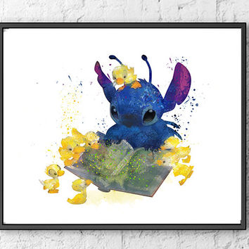 Stitch Art, Lilo & Stitch Watercolor Poster, Disney Art, Movie Poster, Wall Art, Kids Art, Ohana Poster, Home Decor, Kids Room Decor - 313