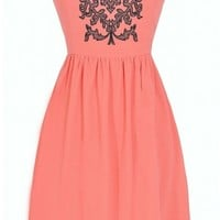 Filigree Embroidered Strapless Dress in Coral - DRESSES