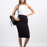 Solid Ribbed Pencil Skirt