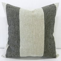 Pillow Cover 18x18 Natural and Black Wide Stripe