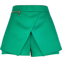 River Island Womens Green embossed smart skort