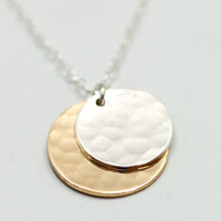 Mother child necklace - sun and moon necklace - hammered disc necklace - gold necklace - hammered gold jewelry - mother daughter jewelry