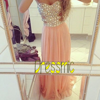 New  Strapless Bridesmaid Prom Dresses Rhinestones Chiffon Prom Dresses Bead long party dress / long evening dress