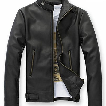 Stand Collar Zippered Long Sleeves PU Leather Coat