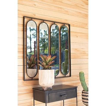 Four Oval Mirrors With Square Metal Frame