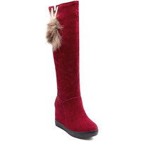 Graceful Women's Snow Boots With Flock and Slip-On Design