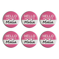 Malia Hello My Name Is Plastic Resin Button Set of 6