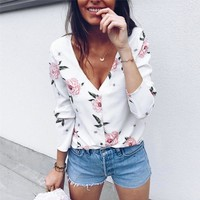 2018 Multicolor V Neck Floral Print Tops Blouses Casual Shirts New Fashion Women Vogue Long Sleeve Buttons Ladies Blouse 20