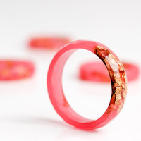 gold flake ring watermelon pink with gold leaf size 8 thin multifaceted eco resin ring