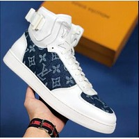 LV Louis Vuitton Newest Trending Women Casual Stylish High Top Sport Shoes Sneakers White/Blue