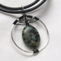 Egyptian Inspired Pendant Necklace with Jasper Oval, Wire Wrapped Eye , Mystical Natural Stone, Black and Blue Jewelry, Dark Teal & Leather