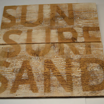 Sign Reclaimed Barn Wood Surf Sun Sand As Seen In DIY Networks Blog Cabin Beach House Home Swimming Lake Resort