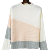Crew Neck Color Block Sweater -SheIn(Sheinside)